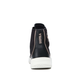 Supra Womens STATIK Black/bone High Top Shoes | CA-83085